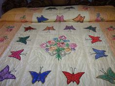 Butterfly Quilt with Embroidered Nosegay.