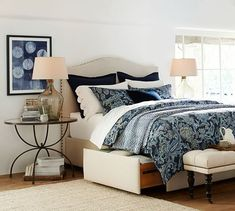 Pottery Barn Upholstered Storage Platform Bed with Side Drawers and Upholstered curved headboard. Murphy Beds, Cool Ideas, Pottery Barn, Blue Pottery, Tall Bed, Headboard And Footboard, Queen Headboard, Tall Headboard, Queen Bedding