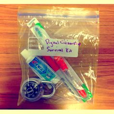The Digital Citizenship Survival Kit A kit of props to illustrate four important concepts of digital citizenship. The toothpaste analogy is my favorite.