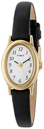 Timex Women's T21912 Cavatina Black Leather Strap Watch: Timex: Watches