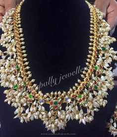 Gold Guttapusalu Necklace Designs, Gold Pearl Cluster Necklace Designs, Bridal Guttapsualu Necklace Designs.