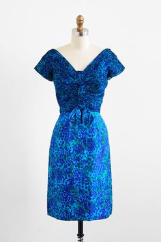 vintage 1960s blue floral silk cocktail dress | vintage dress.