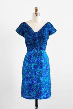 vintage 1960s blue floral silk cocktail dress | vintage dress.
