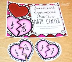 Valentines Day Fraction Task Cards 20 Valentines Day themed