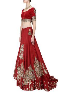 Deep Red Wedding Lehgna Choli