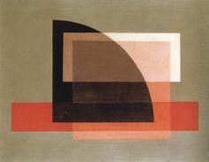 Laszlo Moholy-Nagy. black quarter circle with red stripes (1921).