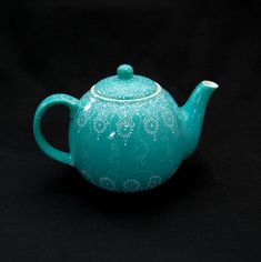 Teal Hand Painted Tea Pot by HennaCraft on Etsy, $155.00