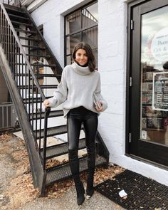 winter outfits with leggings pants black leggings leather leggings sock boots black boots heel boots turtleneck sweater Legging Outfits, Leggings Outfit Winter, Leather Leggings Outfit, Sock Boots Outfit, Outfits With Leather Leggings, Tribal Leggings, Leggings Style, Sweater Weather Outfits, Boots And Leggings