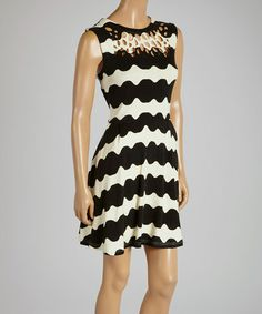 Loving this Black & White Stripe Fit & Flare Dress on #zulily! #zulilyfinds