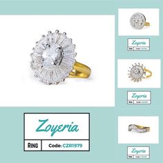 Code: CZR1979-CZR1982 Zoyeria Brass, Cubic Zirconia 18K Yellow Gold, Rhodium Ring, Attractive Box