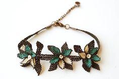 Silk needle lace igne oya bracelet  black & by MiSTANBULcom
