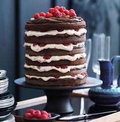 Chocolate & raspberry layer cake via 30 Perfect Party cakes gallery on Gourmet Traveller