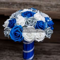 Royal blue and silver wedding bouquet with by TheBridalFlower