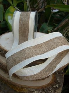 """Natural & Ivory Wired Fine Burlap Ribbon 3"""" width 10 yards $18 each / 3 for $17 each"""