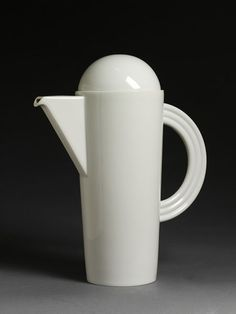 Cupola' tall coffee pot and cover of white porcelain, designed by Mario Bellini 1985, made by Rosenthal AG, Selb, 1996. Part of a group of tableware C.161 to 163-1997 selected at the International Spring Fair, NEC, Birmingham, 1996.