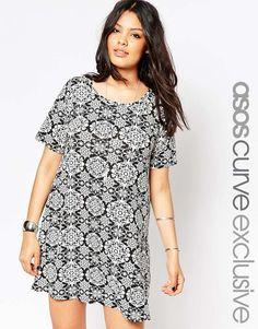 ASOS CURVE Swing Dress In Mono Tile Print