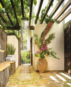 Pergola is usually found in any wedding parties. But it is also possible to make as outdoor decoration. Pergola trellis is one of big ideas to improve your ordinary terrace. It is functional for relaxing space in front of your… Continue Reading → Outdoor Baths, Outdoor Bathrooms, Outdoor Rooms, Outdoor Gardens, Outdoor Living, Outdoor Decor, Luxury Bathrooms, Outdoor Kitchens, Outdoor Ideas