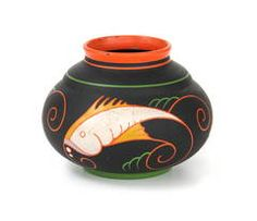 Cris Agterberg Earthenware Pot with Fishes Decor, circa 1925