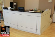 Reception Desk Millwork. Reception Desk Millwork  Millwork magnifies the impact of your most visible office furniture pieces. Casegoods can be enhanced with any number of decorative forms, styles, and dimensions. Millwork is also commonly done on reception desks, filing systems located near the reception area, and bookcases used for quick, convenient access to organized reference materials.