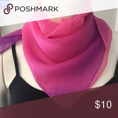 Pink Ombré Silk Neckerchief This adorable pink and purple silk neckerchief features an ombre color. It adds the perfect little touch of bright color and feminine whimsy to any outfit. This is a new boutique item so price is firm.  100% Silk.  Hand wash cold and gentle. Do not bleach. Dry flat.  Made in China.  Dimensions: 21″ square. Accessories Scarves & Wraps