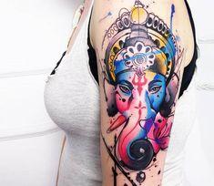 Perfect watercolor tattoo style of Ganesha motive done by tattoo artist Marco Pepe Buddhist Symbol Tattoos, Hindu Tattoos, God Tattoos, Mehndi Tattoo, Tatoos, Samoan Tattoo, Ganesha Tattoo Lotus, Lotus Tattoo, Arm Tattoo