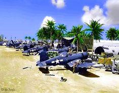 "Corsairs of VMF-214 ""Black Sheep"" at Torokina airstrip, Bougainville, December 24, 1943."