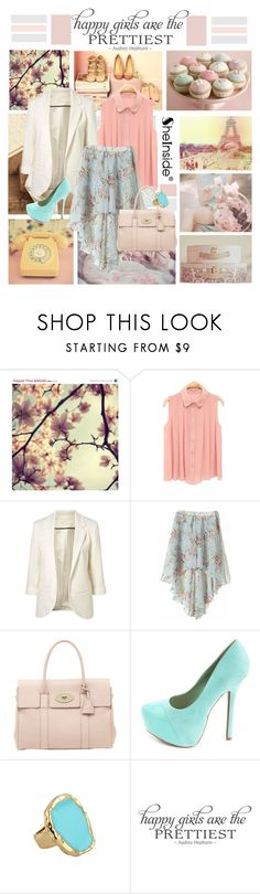 """""""Happy Girls are the Prettiest"""" by kikusek ❤ liked on Polyvore featuring MANGO, Mulberry, Charlotte Russe, WALL, white blazers, blue and white, mint green dresses, retro, top handle bags and mini skirts"""