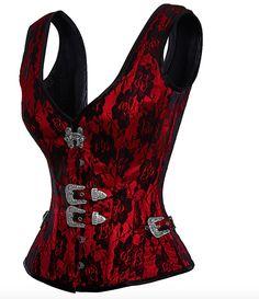 £89.00 US $119.14 Red Corset Top | Gothic & Cyberpunk Fashion