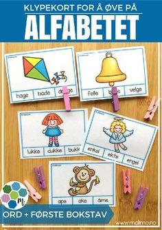 Alfabetet - klypekort for øving [BM&NN]