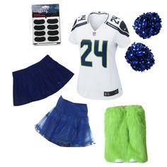 Women's Sexy Seattle Seahawks Cheerleader Fan Halloween Costume