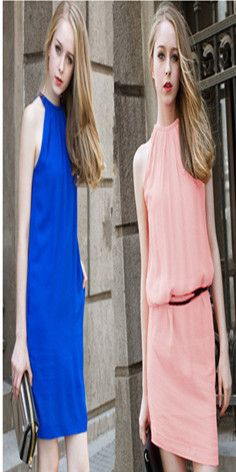Fashion Candy Color Sleeveless Chiffon Dress with Waistband