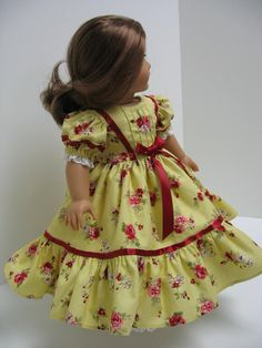1800 Victorian Christmas Dress with Pin Tucking and Ribbon for any American Girl Doll or 18 Inch Doll