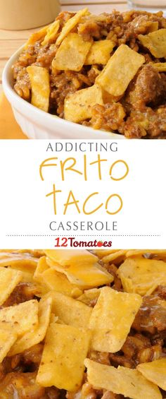 Frito corn chips are one of our favorite junk/snack foods and we knew that the way to take this casserole to the (guilty) next level was to include them with our beef, beans and chiles. This dish is loaded with flavor and we can't wait to make it agai Tex Mex, Beef Dishes, Food Dishes, Main Dishes, Casserole Dishes, Casserole Recipes, Taco Casserole, Taco Bake, Mexican Casserole