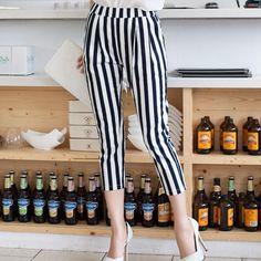 New Summer Women Stripe Elastic High Waist Capri pants Trousers Plus UK Mad Hatter Halloween Costume, Plus Size Womens Clothing, Clothes For Women, Black White Stripes, Black Pants, Casual Pants, Summer Outfits, Capri Pants, Trousers