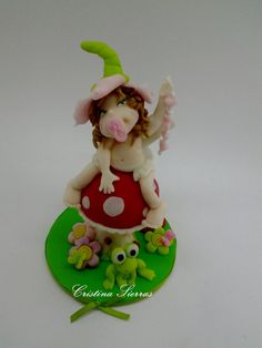 Handmade Cake topper fairy on mushroom by RUSTIKOcakeDecoratio, €27.50