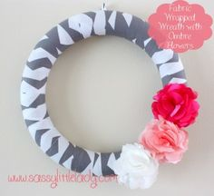 Fabric Wreath with #ombre flowers