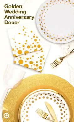 Add sparkle & shine to your wedding anniversary. Decorate with gold for your golden celebration. Add sparkle & shine to your wedding anniversary. Decorate with gold for your golden celebration. 50th Wedding Anniversary Decorations, Golden Wedding Anniversary, Anniversary Parties, 50th Anniversary, 50th Birthday Party, Birthday Backdrop, Birthday Ideas, New Years Decorations, Gold Party