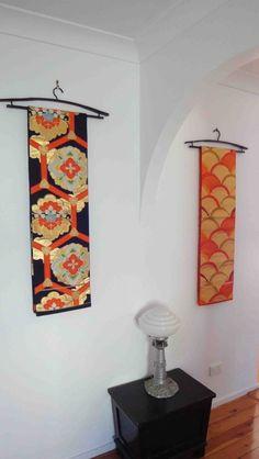 Japanese obi wall hanging