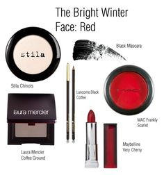 The Bright Winter Face: Red by catelinden on Polyvore featuring polyvore, beauty, Laura Mercier, Stila, Hourglass Cosmetics, Lancôme, CO, Maybelline and modern