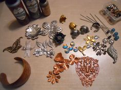 WTW 10/22/14 Working on a few new projects with B'sue's components including bracelet,flowers, leaves and necklace blank along with a few items from my stash
