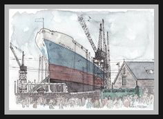 Boat Yard Watercolour Painting- South Shields Dock- Boat Watercolour- Dock Painting- A5- Industrial Painting- Vintage- Art by Lewis Hanson