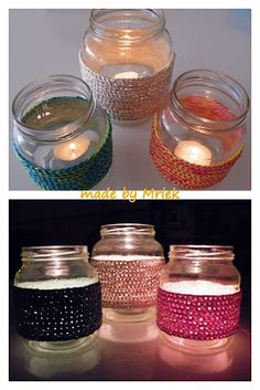 made by Mriek: Sfeerlichtjes (+ tutorial) Baby Jars, Baby Food Jars, Baby Food Jar Crafts, Crafts For Kids, Craft Gifts, Diy Gifts, Deco Table, Home And Deco, Crochet Home