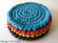 Free crochet coasters pattern These bright crochet coasters are easy to make and they make me happy just looking at them. I used Lily Sugar and Cream yarn in colors Warm Brown, Hot Green, ...