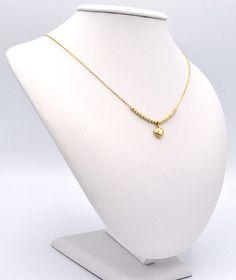 zlatý řetízek se srdíčkem a kuličkami Gold Necklace, Jewelry, Gold Pendant Necklace, Jewlery, Jewerly, Schmuck, Jewels, Jewelery, Fine Jewelry