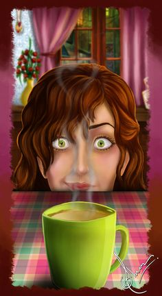 The smell of first cup of coffee ♥ (me, right now. haha. I slept late, loved it, and am just now enjoying my first cup!)