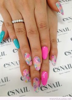 Bright pink and blue manicure