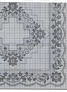 This Pin was discovered by Rut Cross Stitch Borders, Cross Stitch Charts, Cross Stitch Designs, Cross Stitching, Cross Stitch Embroidery, Cross Stitch Patterns, Crochet Table Runner, Crochet Tablecloth, Crochet Doilies