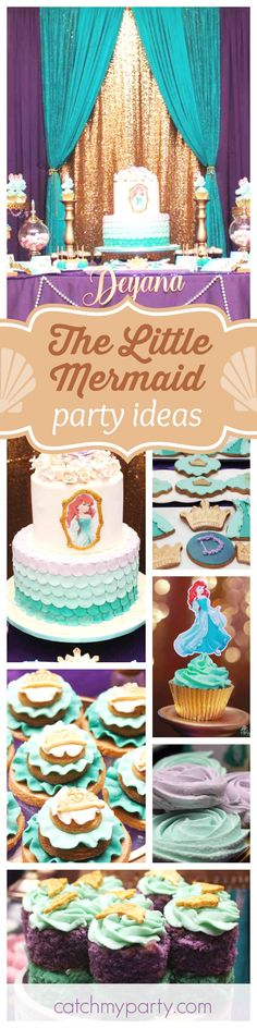 Don't miss this beautiful Little Mermaid inspired Princess Ariel birthday party. The birthday cake is gorgeous!! See more party ideas and share yours at CatchMyParty.com
