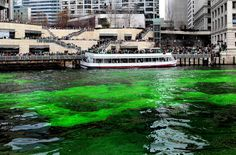 Chicago, IL - March 11, 2017 - The Windy City Celebrates Its Annual Green Dyeing of the Chicago River for St. Patrick's Day