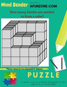 How many #blocks are needed to form a #cube? #Solve Our #MindBender #Puzzle Here: